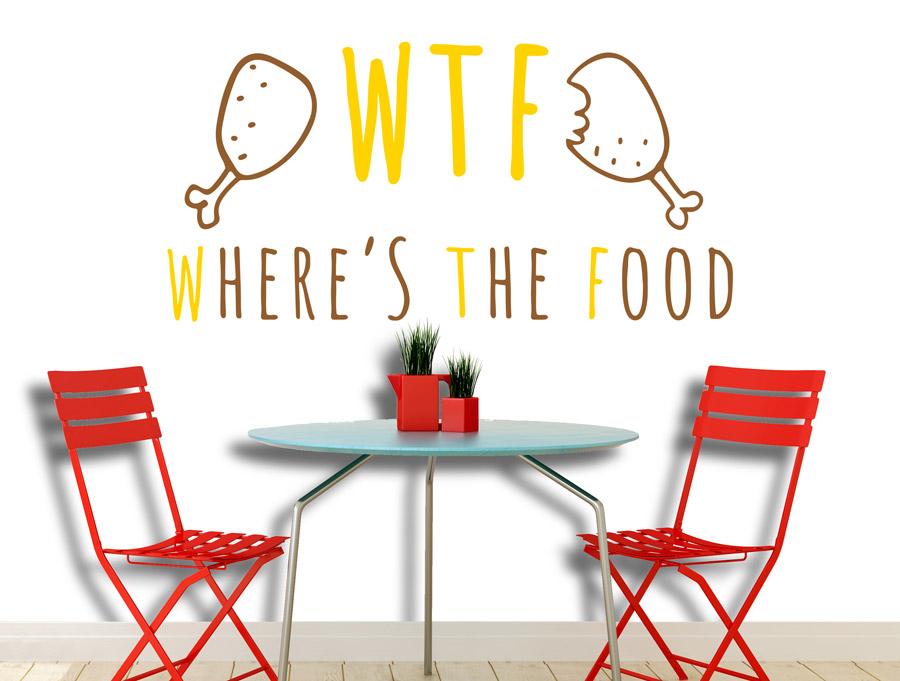מדבקת קיר מצחיקה איפה האוכל