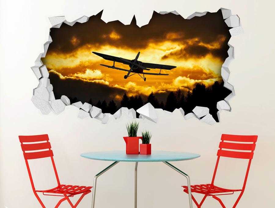 מדבקת תלת מימד מטוס בעננים