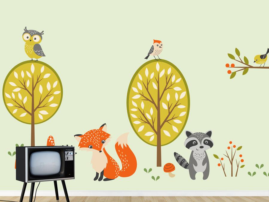מדבקת קיר סט של חיות יער חמודות