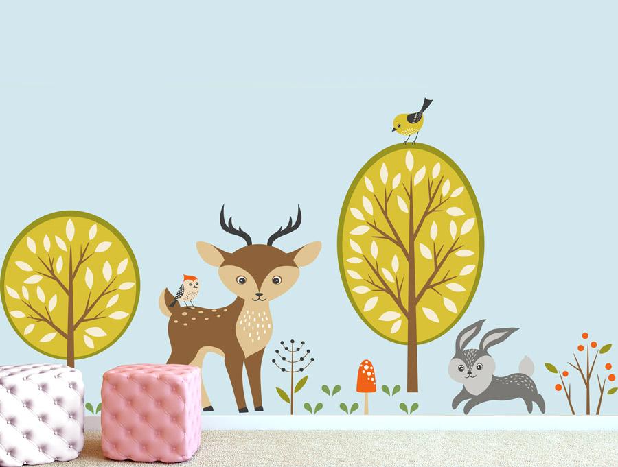 מדבקת קיר סט של חיות יער חמודות 2