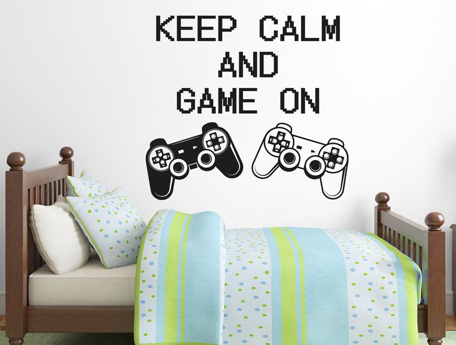 מדבקת קיר תשאר רגוע ותמשיך לשחק