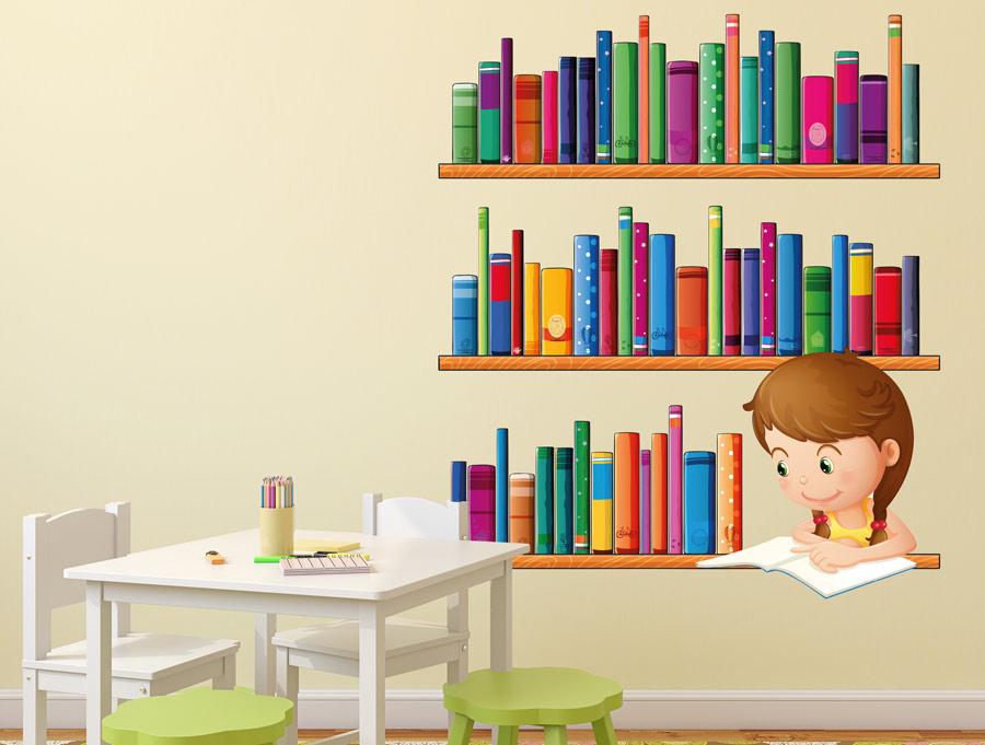 מדבקת קיר סט ספריות וספרים