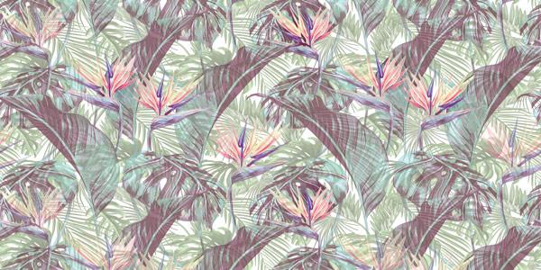 טפט בעיצוב עלים טרופיים ופרחים