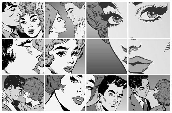 טפט לחדרי נוער וילדים קוביות קומיקס שחור לבן