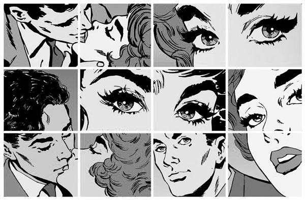 טפט לחדרי נוער וילדים דרמת קומיקס בשחור לבן