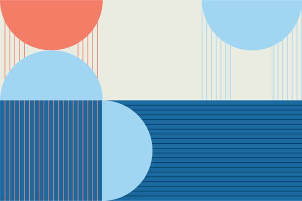 מדבקת טפט מודרנית בצבעי שמנת וכחול