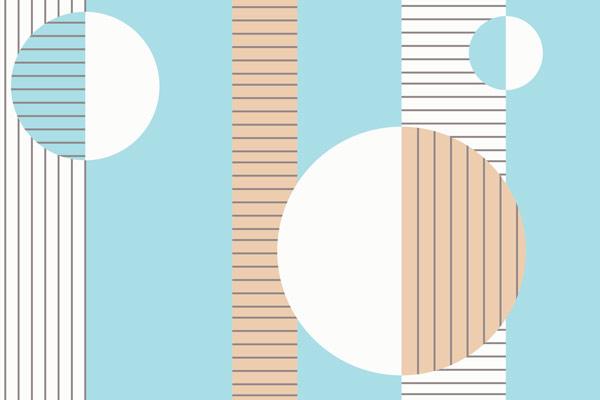 מדבקת טפט מודרנית בצבעי תכלת וחום