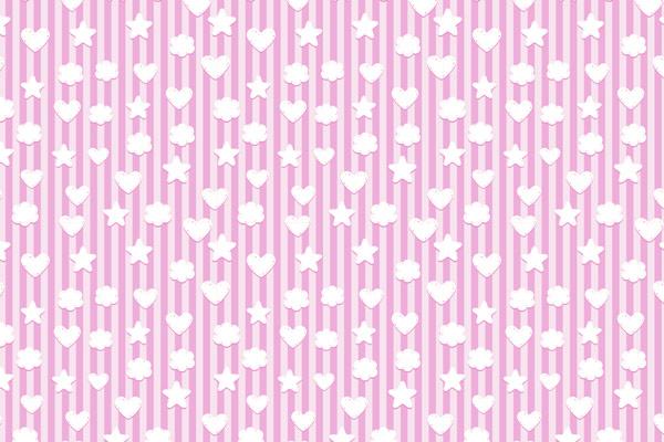 טפט של סמלי לב וכוכבים לחדר תינוקות בורוד