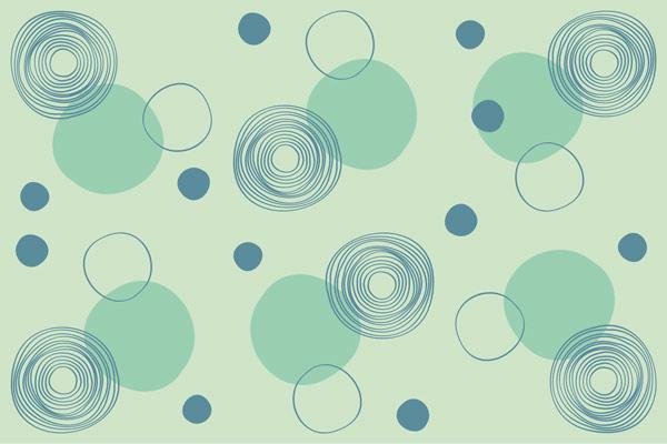 מדבקת טפט מודרני עיגולים על רקע ירוק