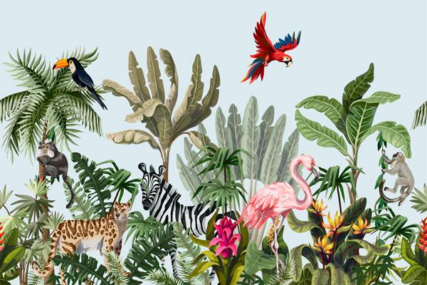 טפט טרופי עם חיות באור יום