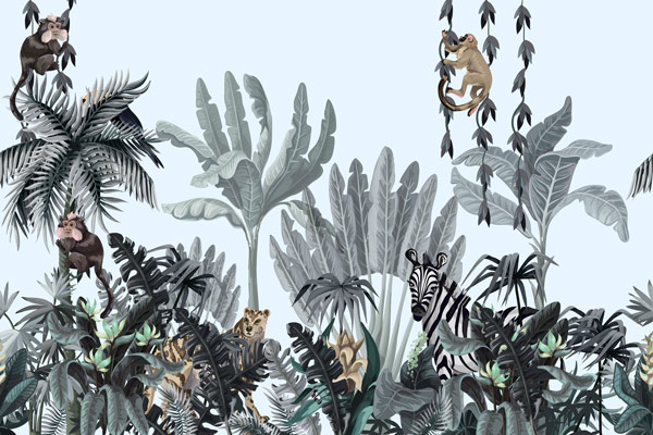 מדבקת טפט טרופי עם חיות על העצים בגוונים עדינים