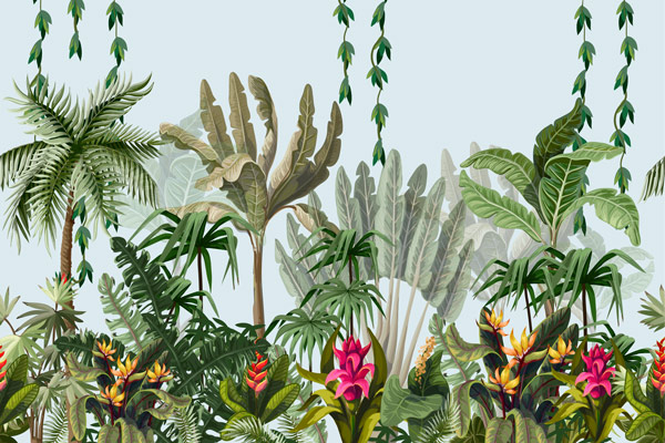 מדבקת טפט ג'ונגל עם פרחים