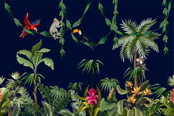 מדבקת טפט ג'ונגל וחיות על עצים בלילה