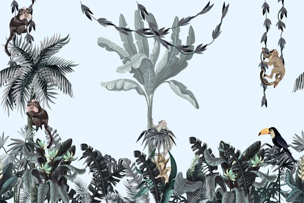 מדבקת טפט ג'ונגל עם חיות בגוון עדין
