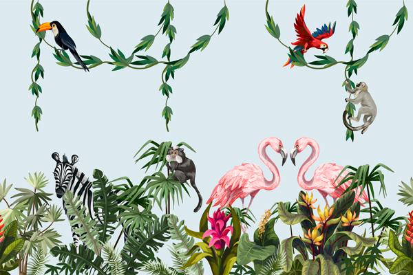 מדבקת טפט ג'ונגל עם חיות
