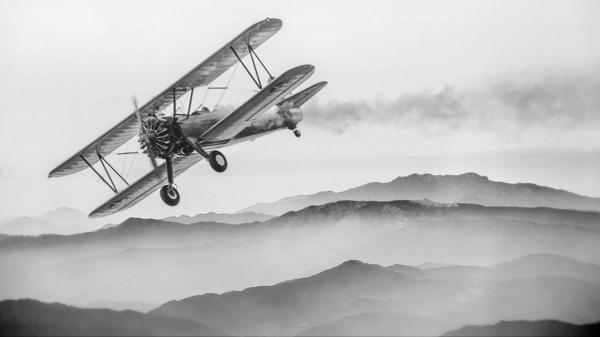 מדבקת טפט טיסה מעל ההרים בשחור לבן