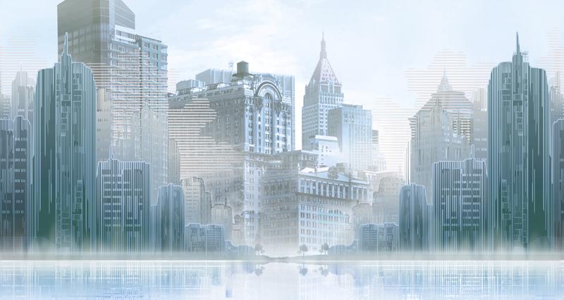 טפט נוף אורבני מגדלי העיר