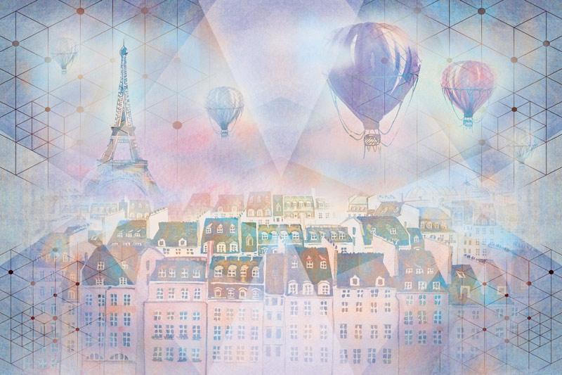 טפט עיצוב פריז וכדורים פורחים