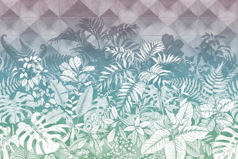 טפט אבסטרקטי של עלים בגוון ירוק