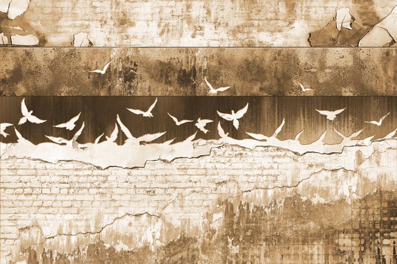 טפט בריקים וגרפיטי בגוון עתיק גדוש ציפורים