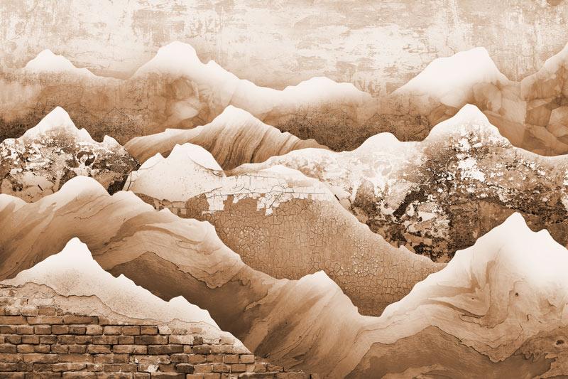 טפט עיצוב הרים בגוונים עתיקים