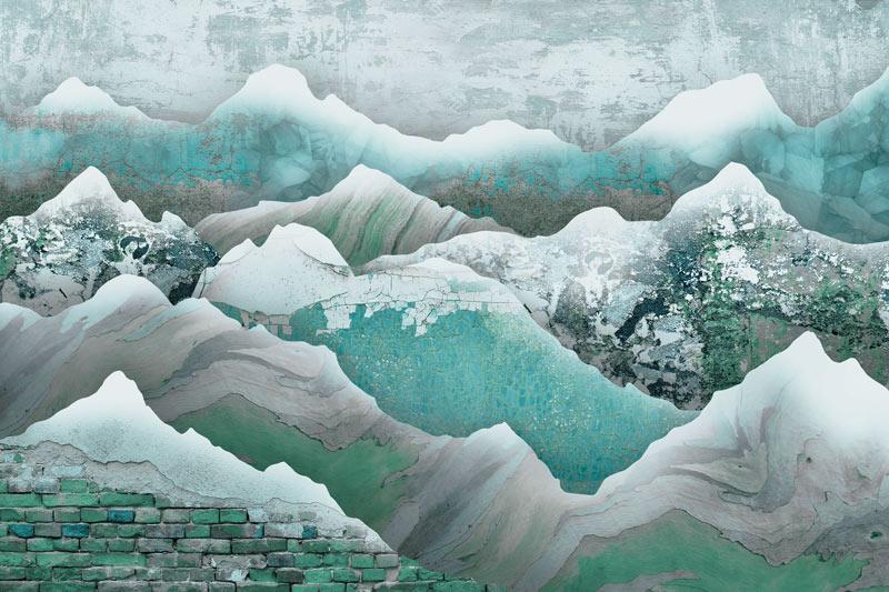 טפט עיצוב הרים בגווני טורקיז