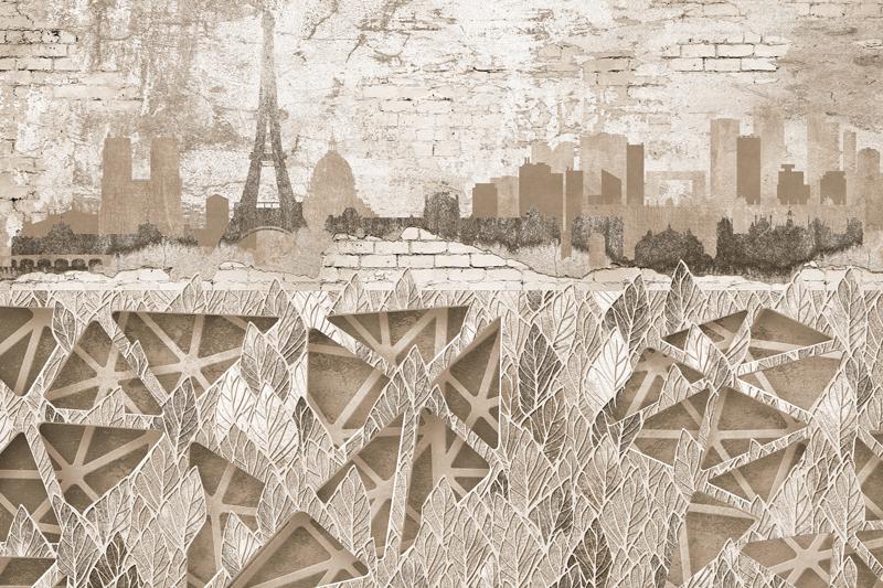 טפט מעוצב של פריז בגוונים עדינים
