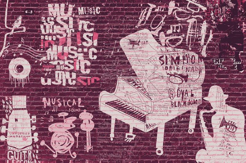 טפט בריקים גרפיטי מוזיקלי בגוון ורוד כהה