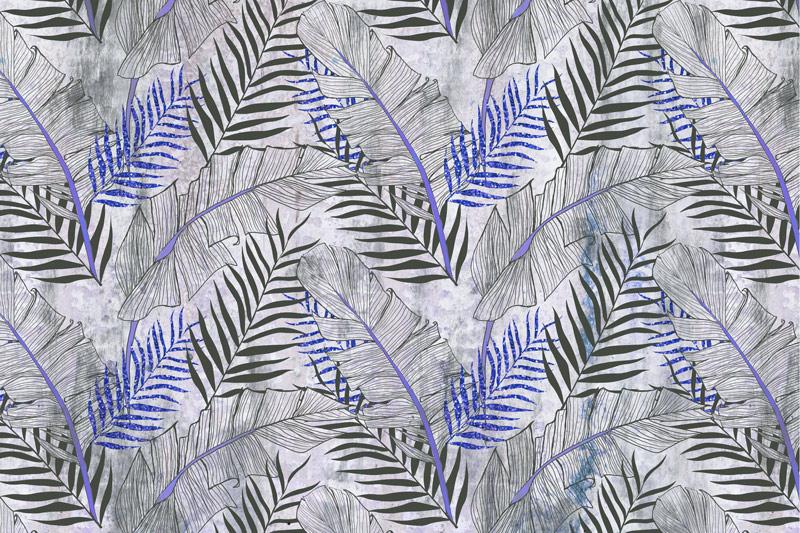 טפט עיצוב עלים כחול אפור