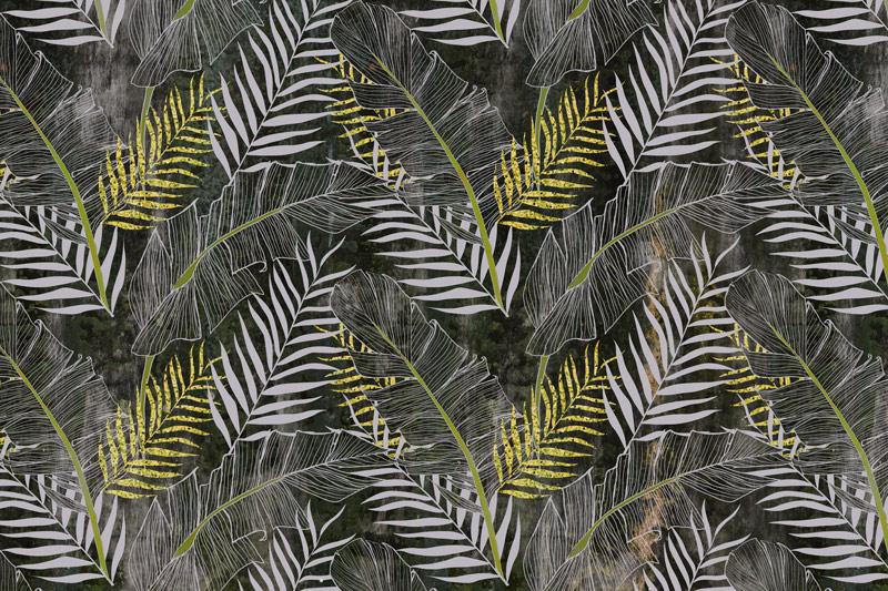 טפט עיצוב עלים צהבהב אפור