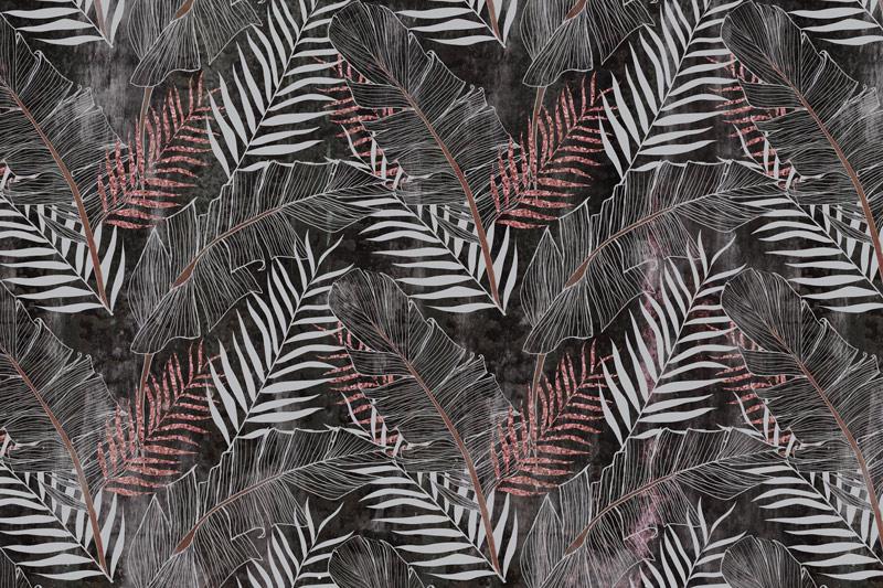 טפט עיצוב עלים אדום אפור