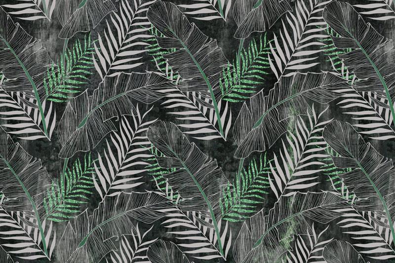 טפט עיצוב עלים ירוק אפור
