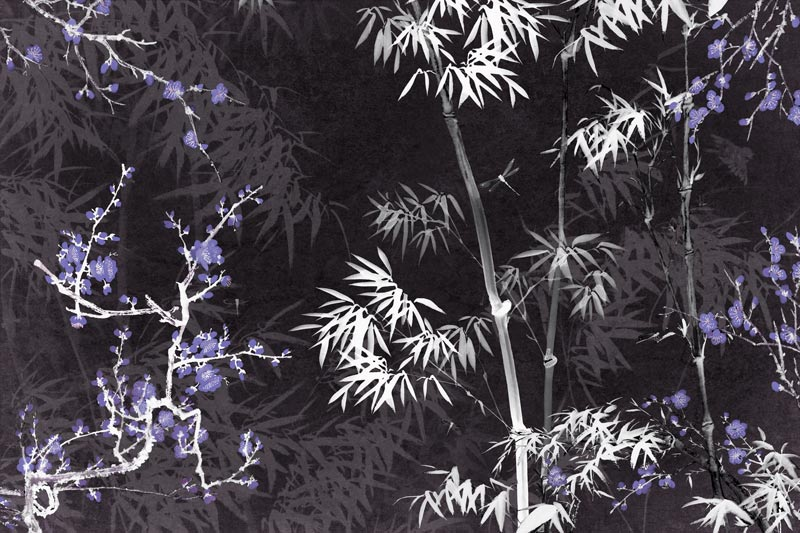 טפט במבוק שחור לבן עלים כחולים