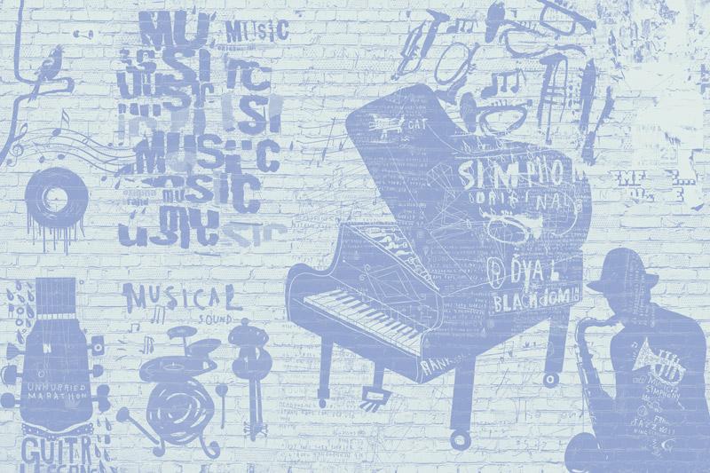טפט בריקים גרפיטי מוזיקלי בגוון כחלחל