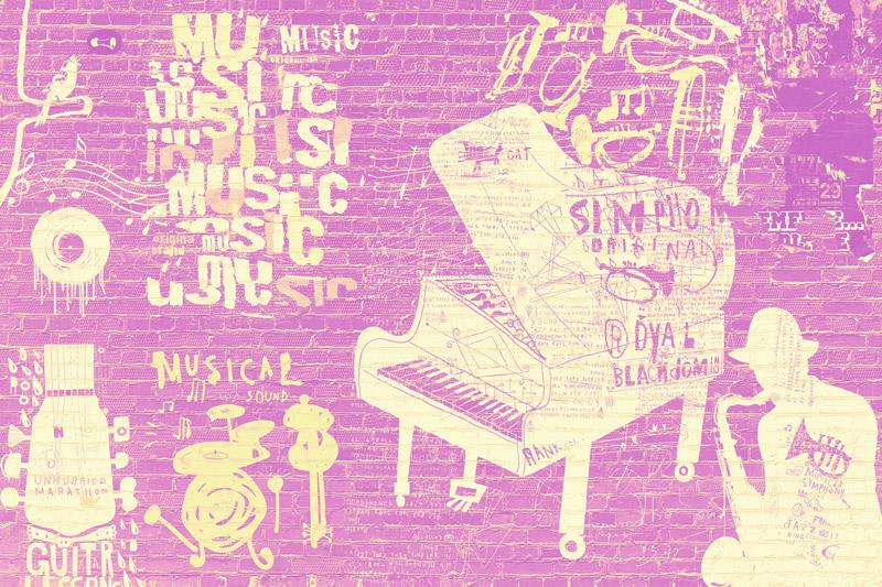 טפט בריקים גרפיטי מוזיקלי בגווני צהוב ורוד
