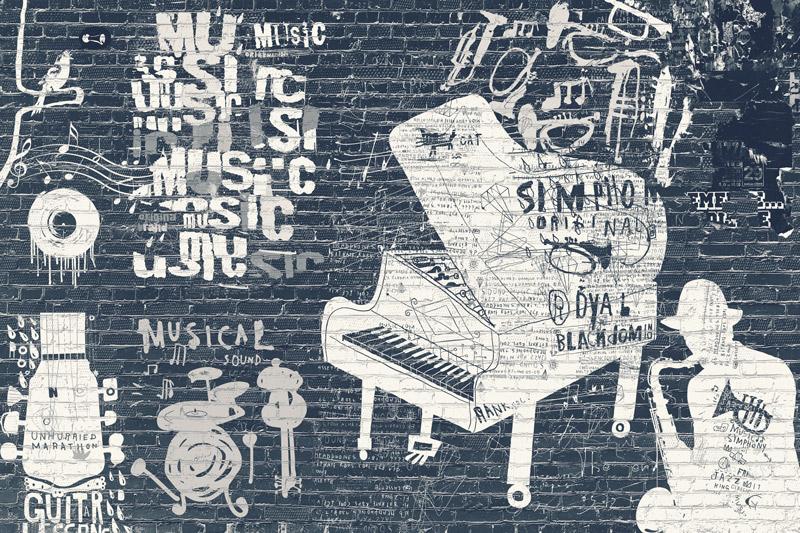 טפט בריקים גרפיטי מוזיקלי בגוונים כהים