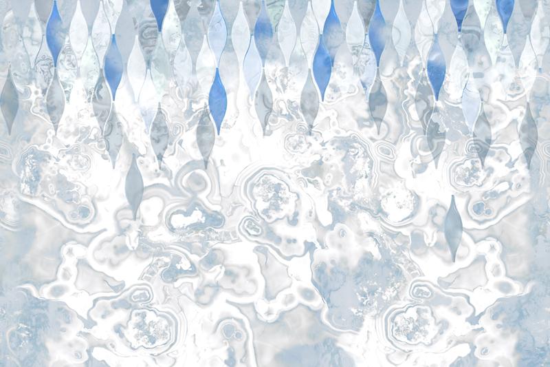 טפט מעוצב לסלון בגווני כחול