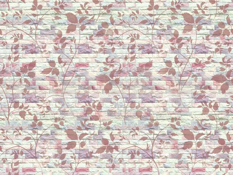 טפט בריקים ופרחים בגוון סגול