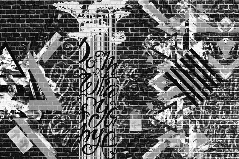 טפט בריקים שחור לבן עם איורים