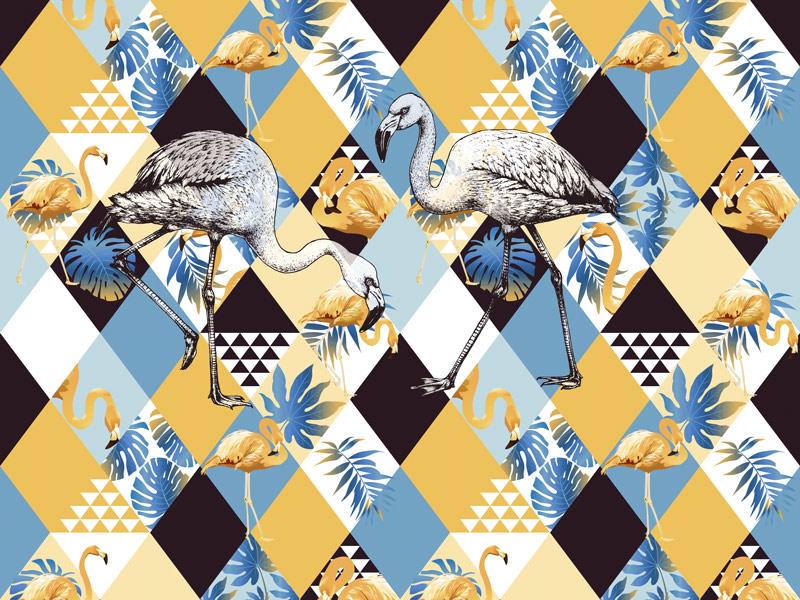 טפט אבסטרקטי פלמינגו כחול וצהוב