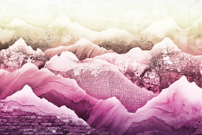טפט עיצוב הרים בגוונים צהוב ורוד