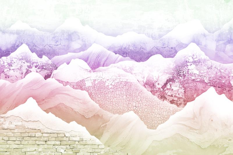 טפט עיצוב הרים בגוונים צבעוניים