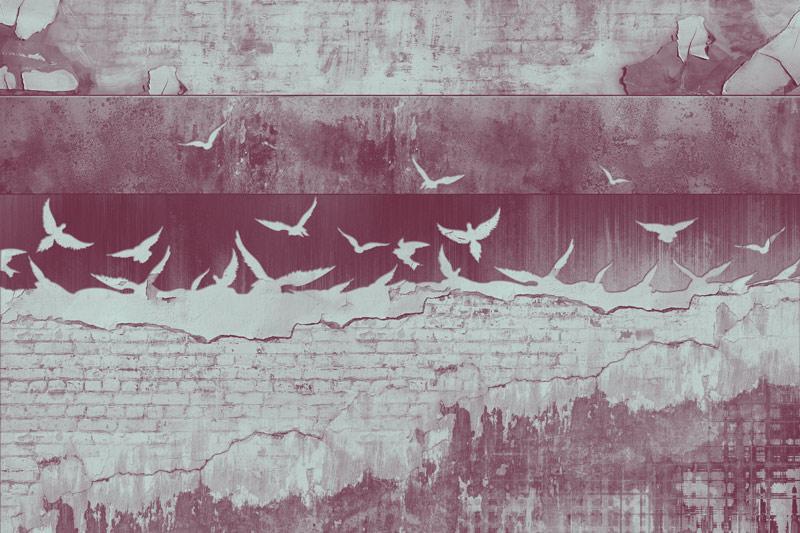 טפט בריקים וגרפיטי אדום גדוש ציפורים