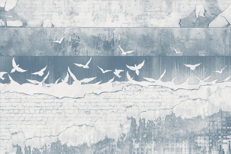 טפט בריקים וגרפיטי כחלחל גדוש ציפורים