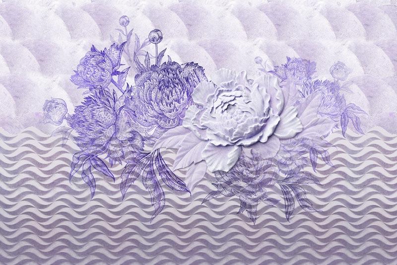 טפט אבסטרקטי של פרח בגווני כחול