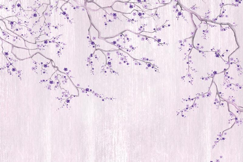 עץ פרחים סגולים על רקע מחוספס