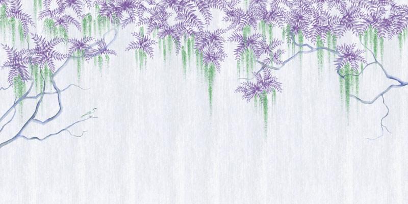 פרחים סגולים על רקע בהיר