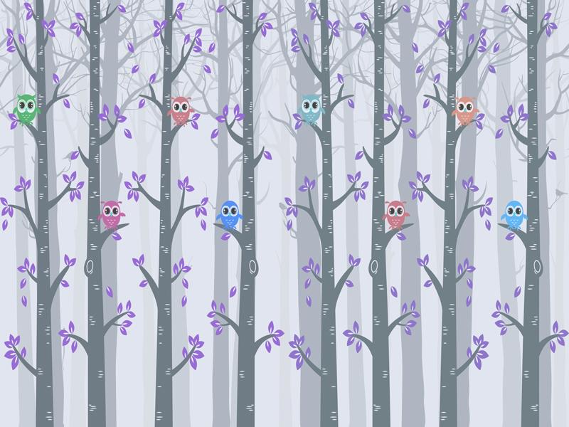 טפט לחדר ילדים של ינשופים על עצים גוון סגלגל