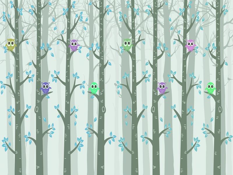 טפט לחדר ילדים של ינשופים על עצים גוון ירקרק