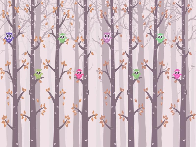 טפט לחדר ילדים של ינשופים על עצים